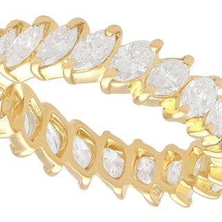 2.23ct Diamond and 18ct Yellow Gold Full Eternity Ring - Vintage French Circa 1980