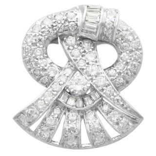 1.88 ct Diamond and Platinum Brooch - Art Deco - Antique Circa 1925