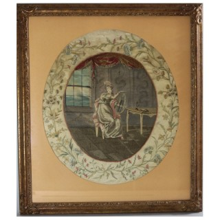 Antique Georgian Silkwork Embroidery - Girl with Lyre