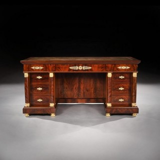 Fine French Second Empire Gilt Bronze Mounted Mahogany Library Desk Krieger
