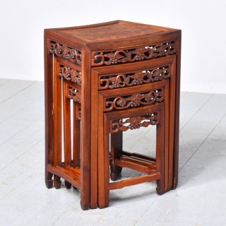 Nest of 3 Chinese Qing Dynasty Rosewood and Burr Wood tables