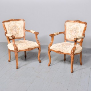 Pair of Louis XV-Style Open Armchairs (Fauteuils).