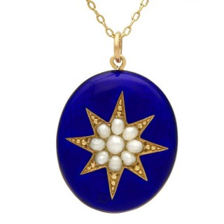 Enamel and Pearl, 9ct Yellow Gold Locket - Antique Circa 1890