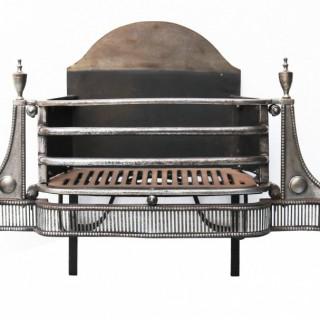 A George III Polished Steel Fire Grate