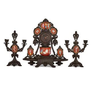 Antique Neo-Grec porcelain and cast iron clock set