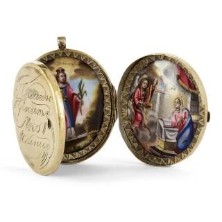 Antique Russian painted enamel and vermeil folding triptych locket