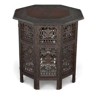 Kashmir carved hardwood octagonal side table