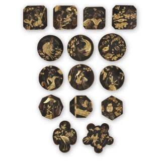 Group of fifteen Japanese Meiji period gilt metal plaques