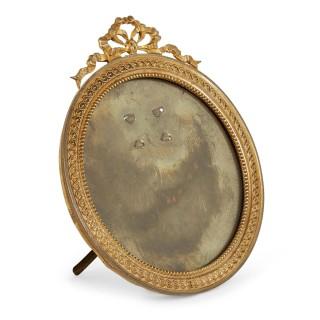 Empire style miniature gilt bronze picture frame
