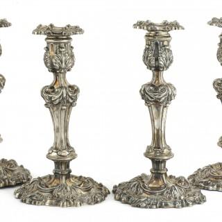 A SET OF 4 GEORGIAN CANDLESTICKS 1824