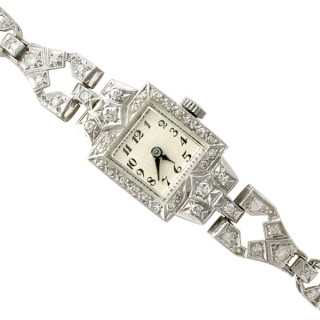 1.93 ct Diamond and Platinum Cocktail Watch - Antique Circa 1935