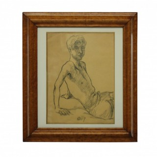 A PORTRAIT OF A YOUNG MAN IN CHARCOAL