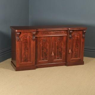 Antique English Victorian Four Door Flame Mahogany Sideboard Chiffonier Server (Circa 1860)