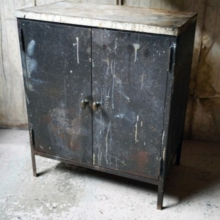 A Black Painted Steel Industrial Factory Side Cabinet c.1940-60