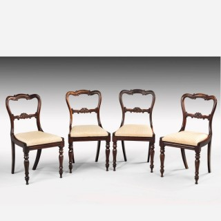 Set of Four Early Victorian Period Rosewood Single Chairs