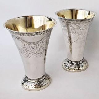 Antique Silver Swedish Vases