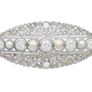 6.73ct Diamond and Pearl, 18ct Yellow Gold Brooch - Antique Circa 1890