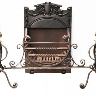 A Victorian Wrought Iron Fire Basket