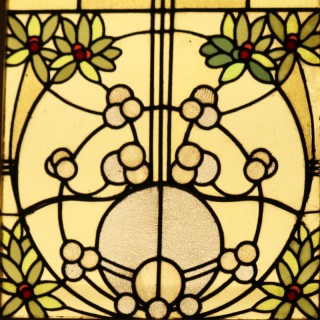 Four Reclaimed Stained Glass Window Panels