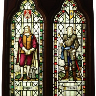 A Reclaimed Stained Glass Window Depicting Oliver Cromwell and John Bunyan