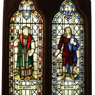 A Reclaimed Stained Glass Window Depicting John Milton and John Wycliffe