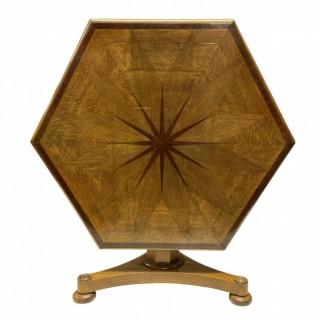 A WILLIAM IV HEXAGONAL GEOMETRIC CENTRE TABLE