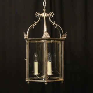 English Silver Plated Triple Light Hall Lantern