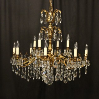 Italian Gilt & Crystal 12 Light Antique Chandelier