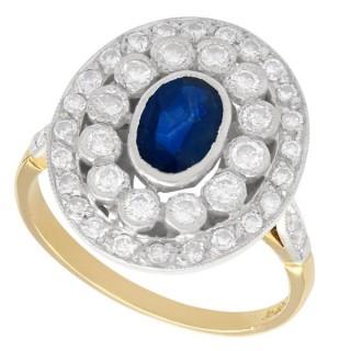 0.75 ct Sapphire and 1.02 ct Diamond, 18 ct Yellow Gold Dress Ring - Vintage Circa 1960
