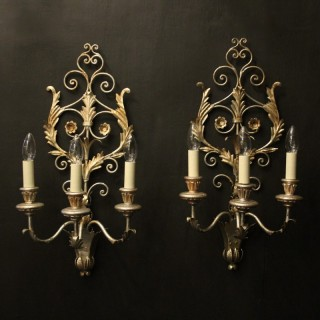 Florentine Pair Of Silver Gilded Wall Lights