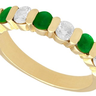 0.55ct Emerald and 0.80ct Diamond, 18ct Yellow Gold Ring - Vintage French Circa 1980