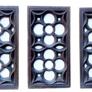 Three English Carved Oak Church Panels