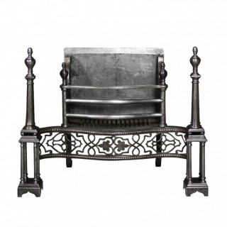 An Antique Georgian Style Polished Steel Fire Grate