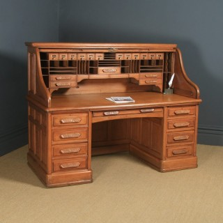 Large Antique English Edwardian 6ft Oak Roll Top Pedestal Office Writing Desk by Angus of London (Circa 1910)