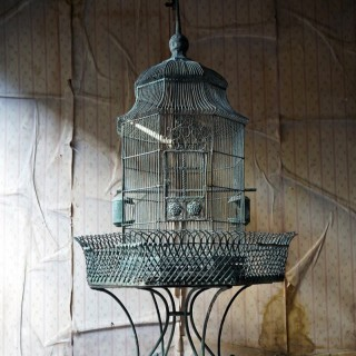 A Large French Painted Zinc Chateau Birdcage c.1910