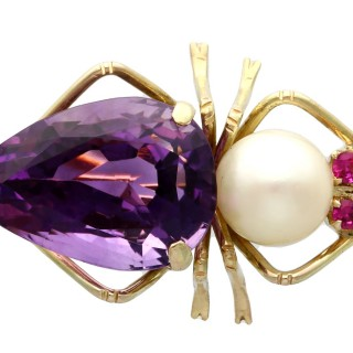 12.39 ct Amethyst, Pearl and Ruby, 14 ct Yellow Gold Insect Brooch - Vintage Circa 1960