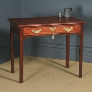 Antique English Georgian Mahogany Occasional Hall Writing Lowboy Side Table (Circa 1780)