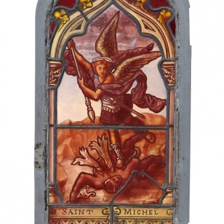An Antique Stained Glass Window Depicting 'St Michel'
