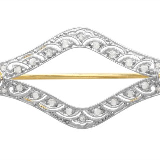 0.63ct Diamond and 18ct Yellow Gold Brooch - Antique Circa 1920